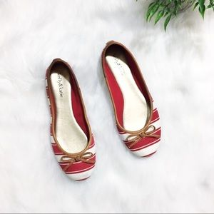 Kelly & Katie | Red White Striped Ballet Flats | 7